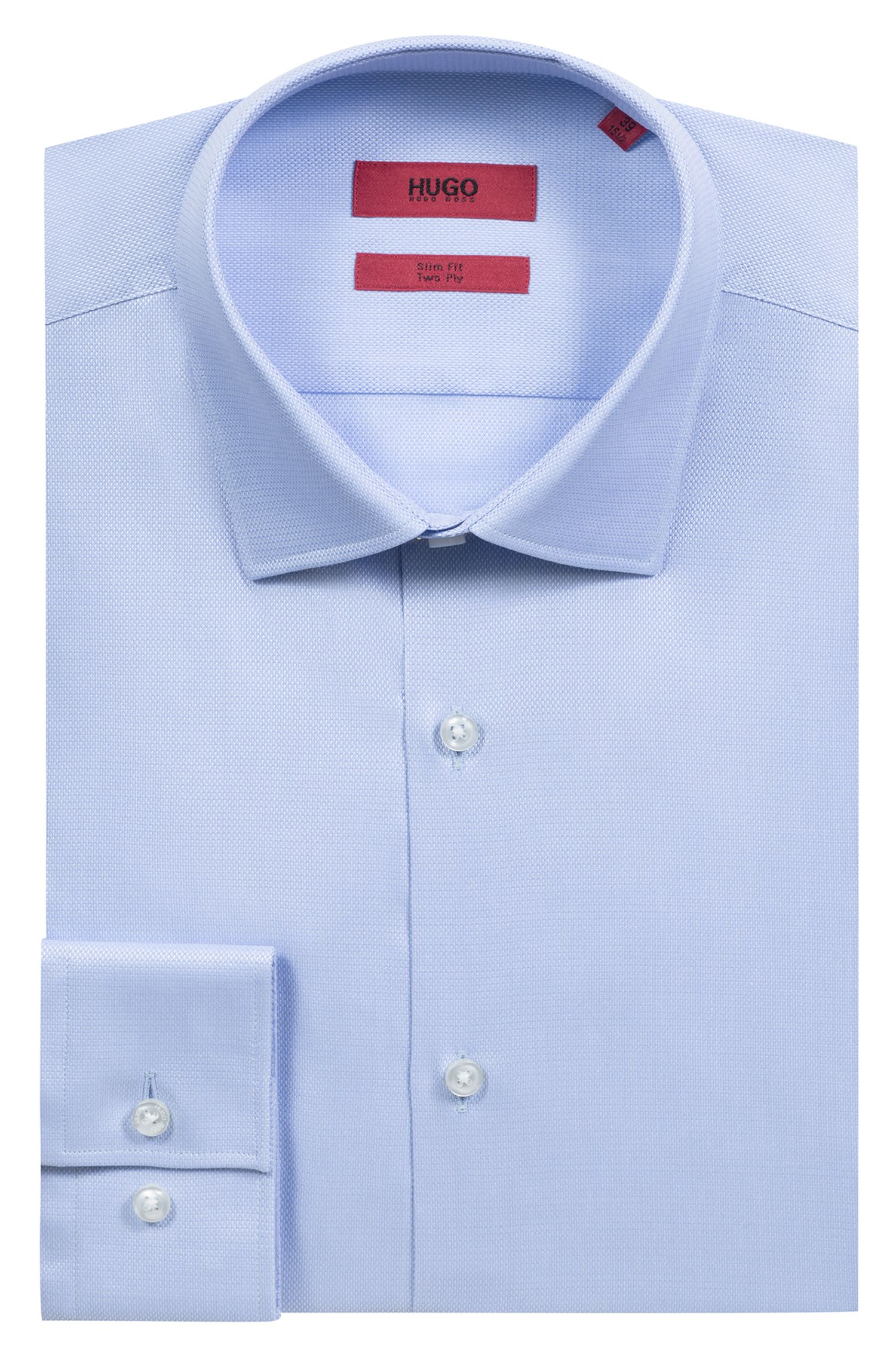 Slim-fit shirt in structured cotton, Light Blue