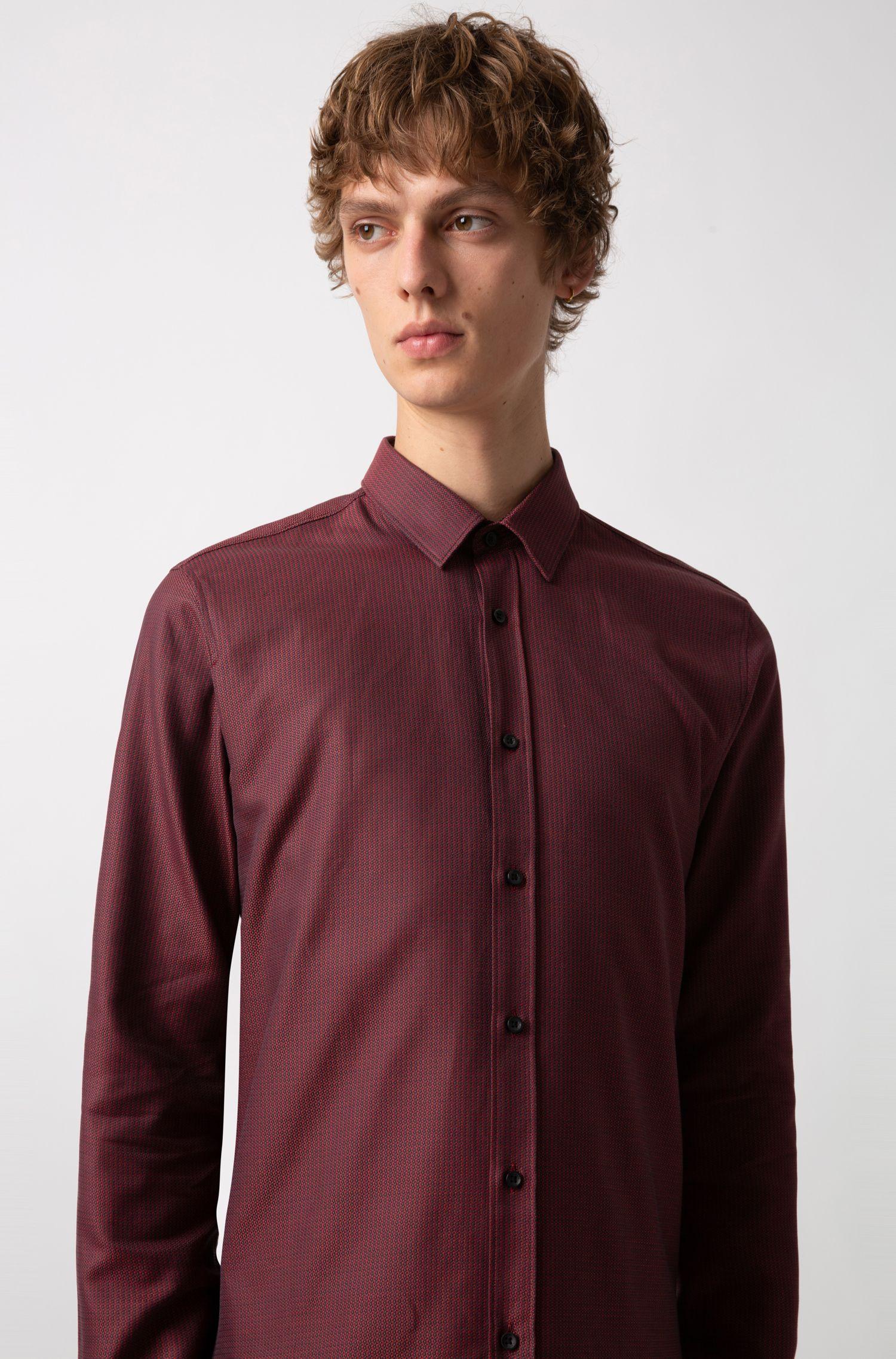 Extra Slim-Fit Hemd aus Baumwolle mit Webstruktur, Gemustert