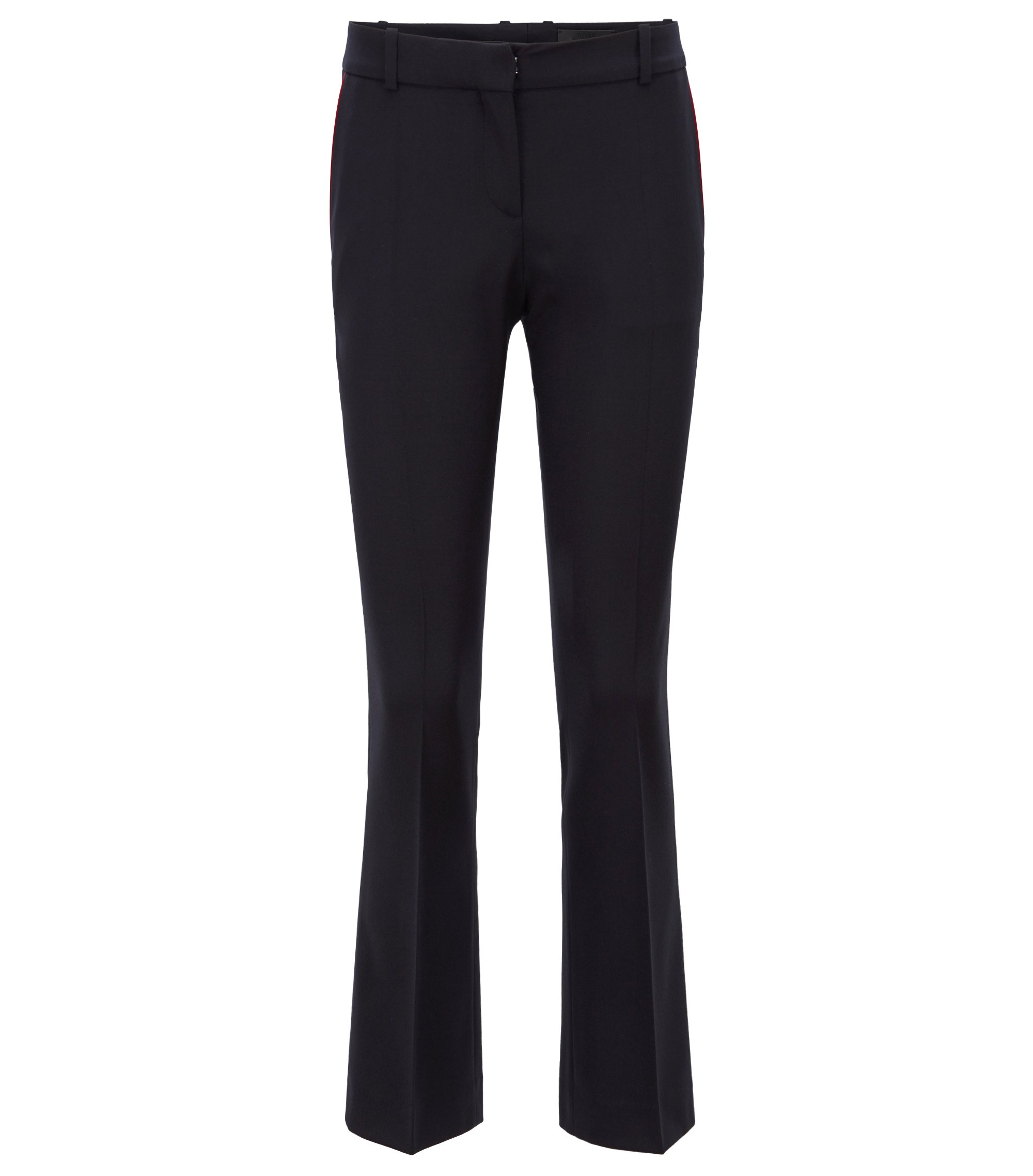 Regular-fit cropped trousers with a boot leg, Dunkelblau