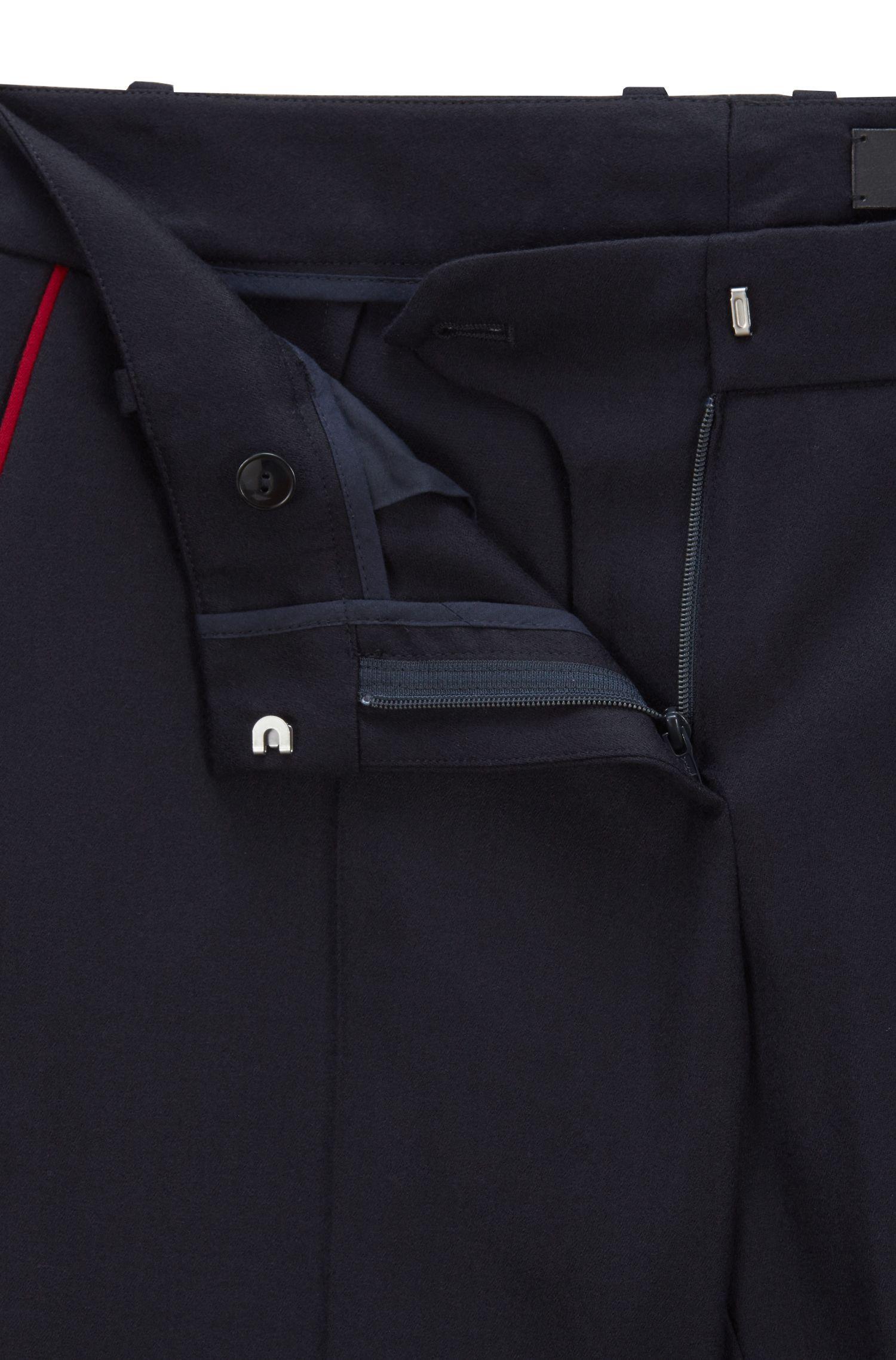Made in Germany kortere broek met bootcut pijpen, Donkerblauw