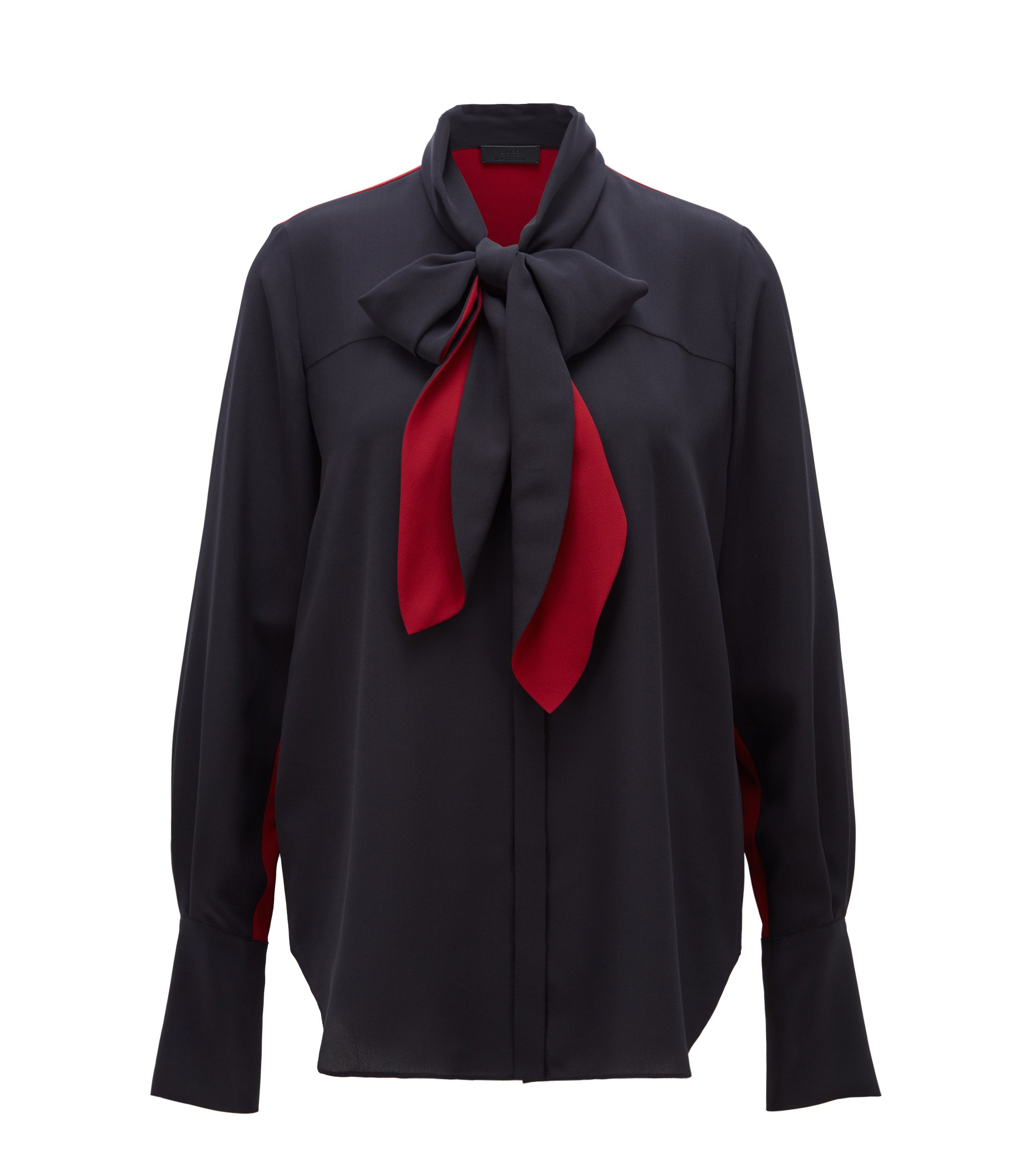Blouse in pure silk with bow-tie collar, Bleu foncé