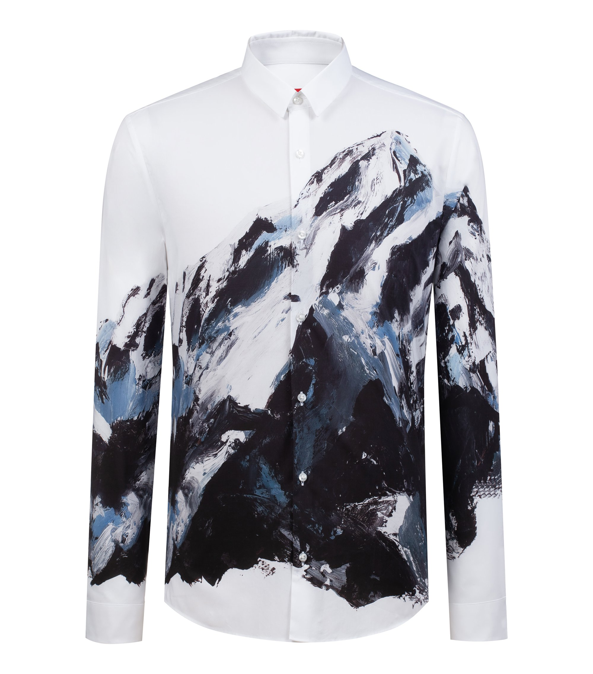 Extra-slim-fit cotton shirt with mountain print, White