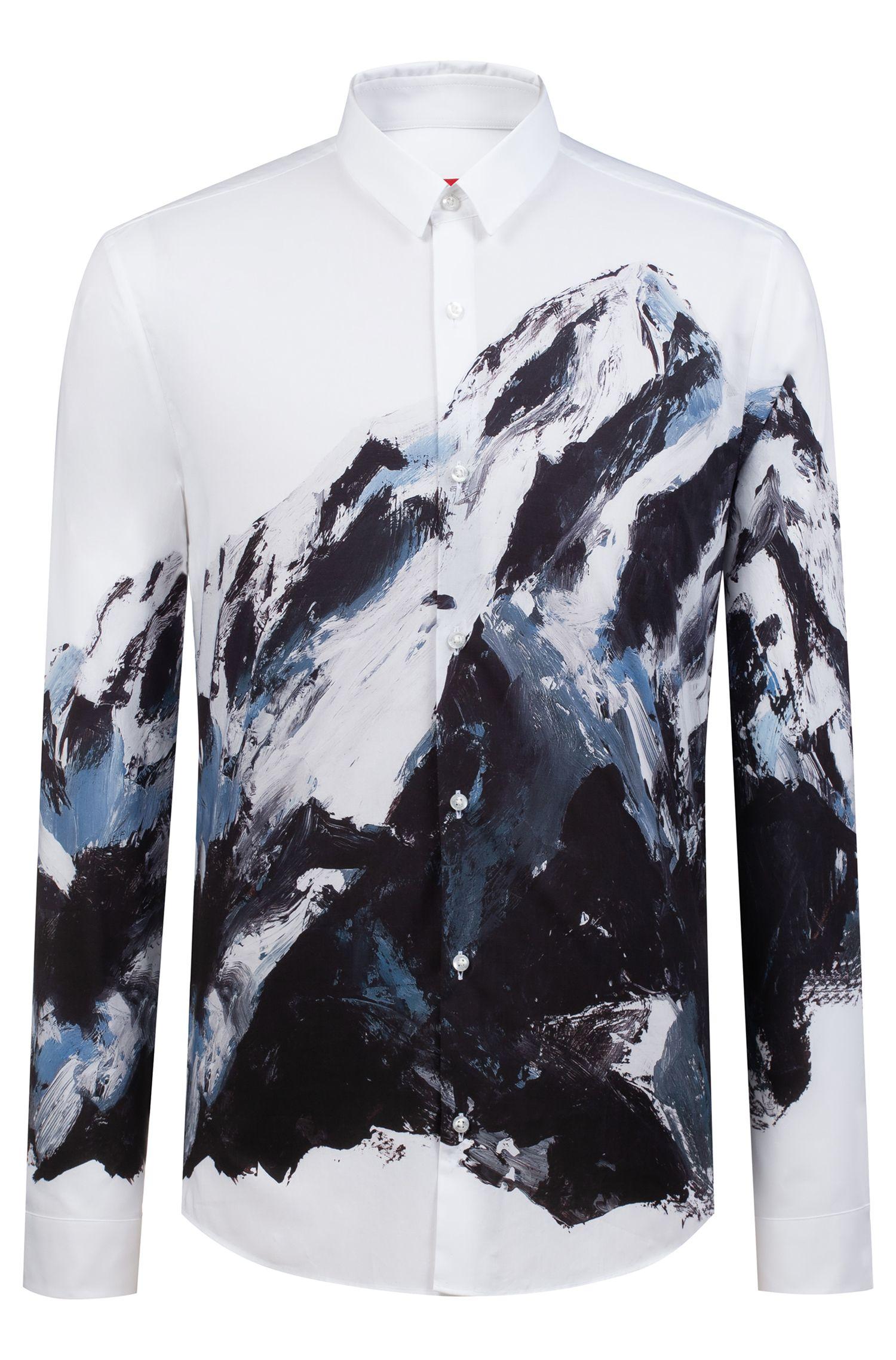 Chemise en coton Extra Slim Fit à imprimé montagne, Blanc