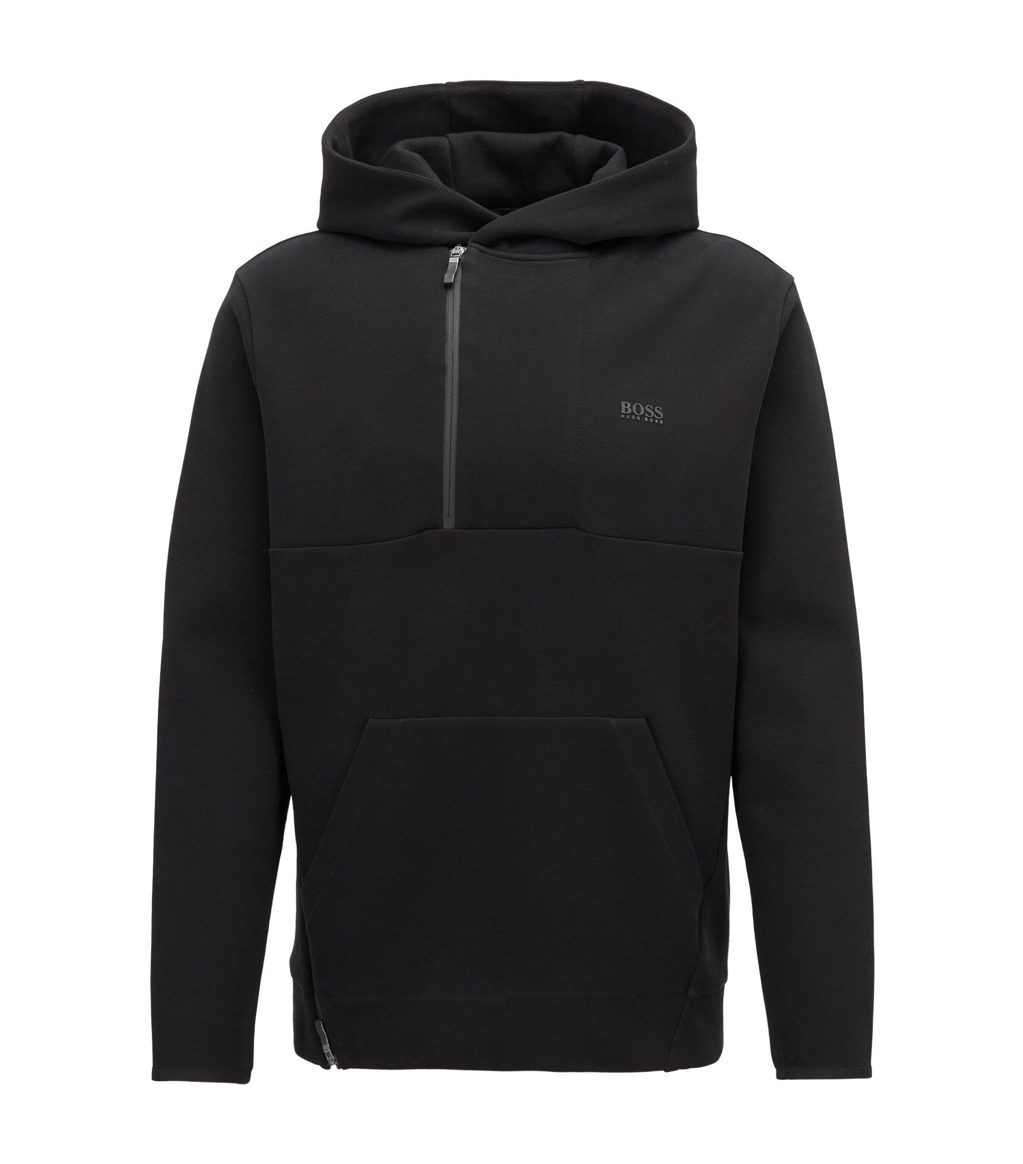 Sweater in een piqué van een katoenmix met capuchon en verborgen ritssluiting, Zwart