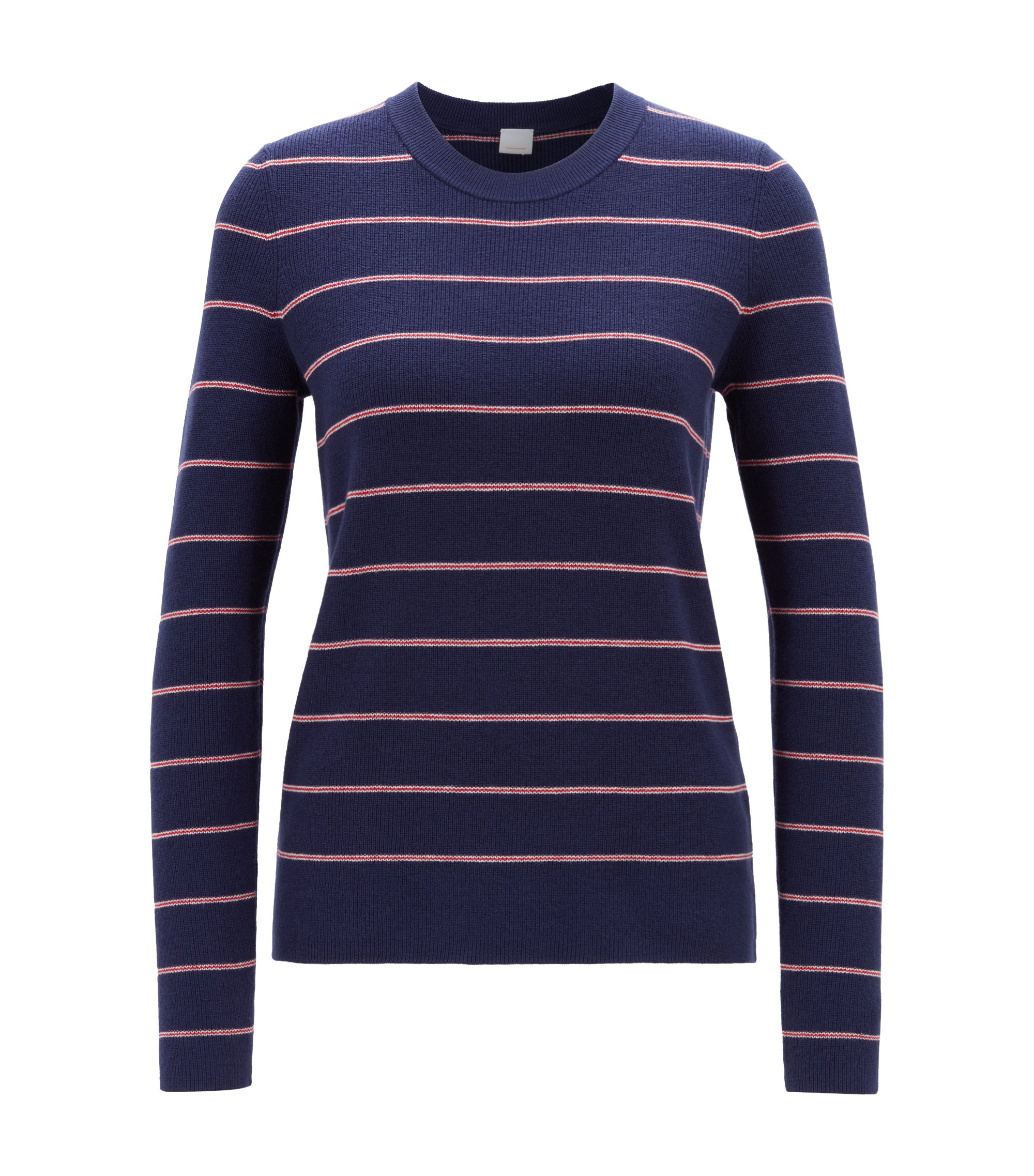 Striped relaxed-fit sweater in a wool-cotton blend, Dark Blue