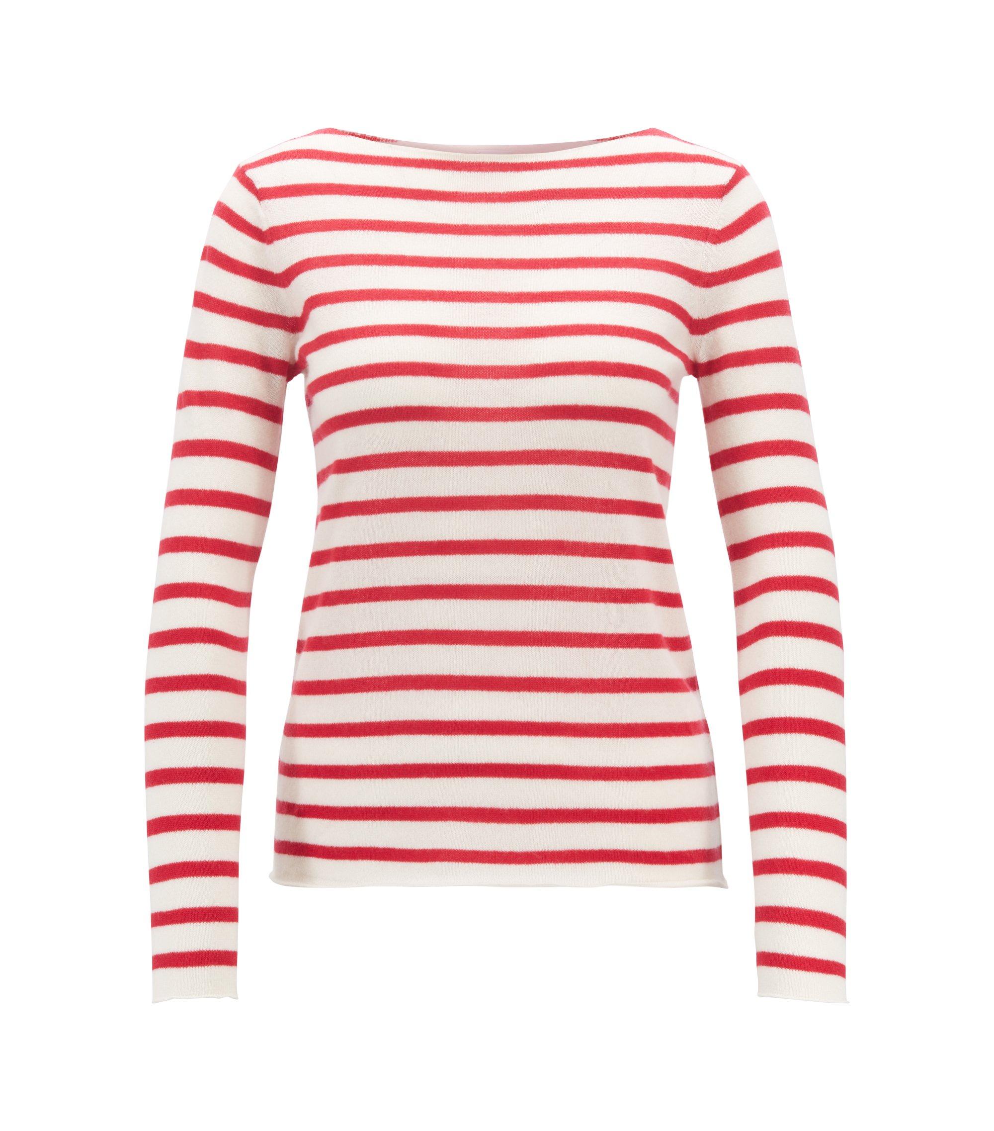 Gestreepte, ruimvallende trui van zuiver kasjmier, Rood