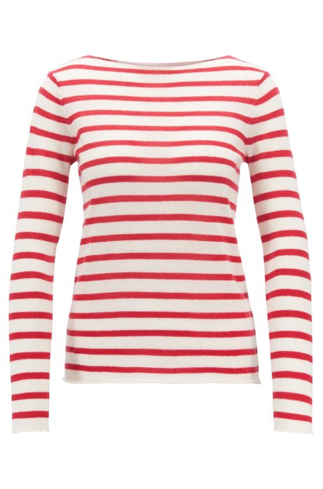c58e2fa6c BOSS - Striped loose-knit sweater in pure cashmere