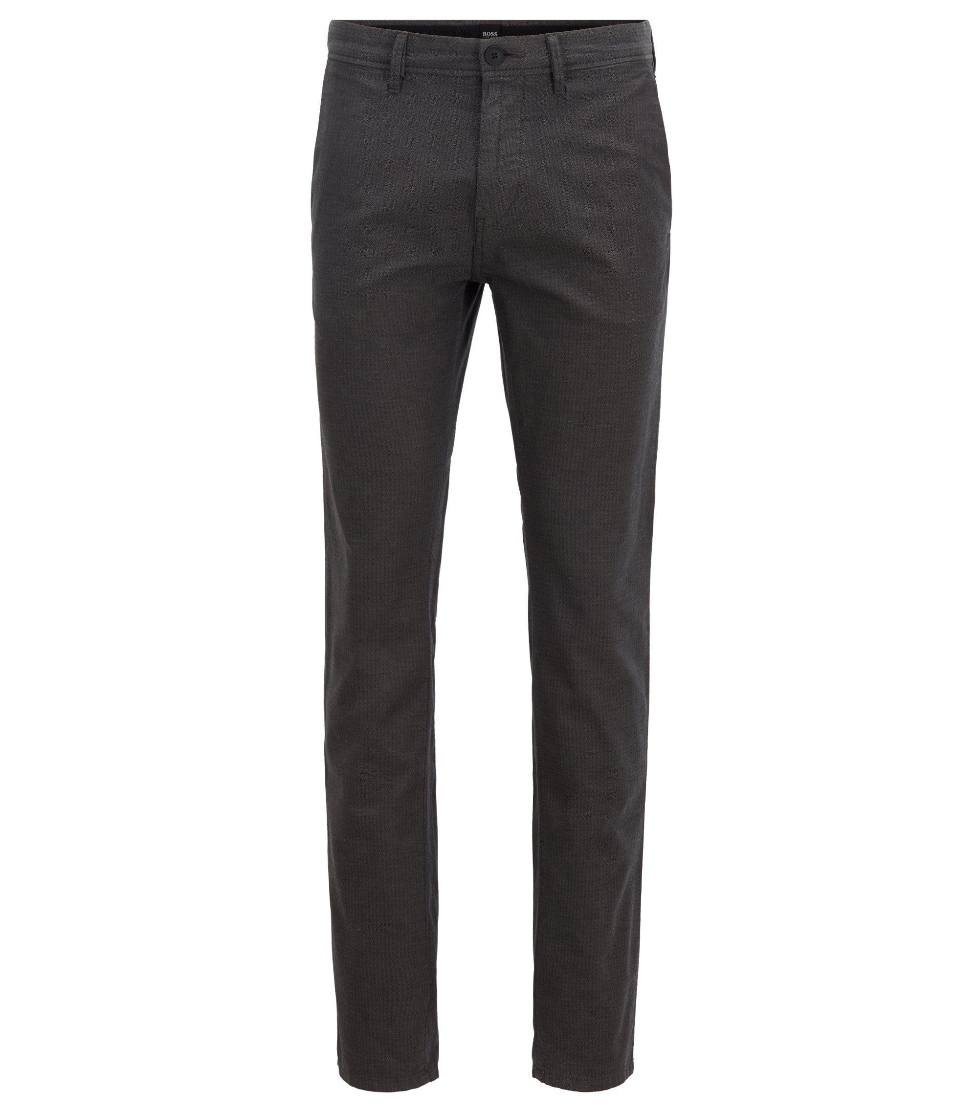Slim-fit broek van gestructureerde stretchkatoen, Lichtgrijs