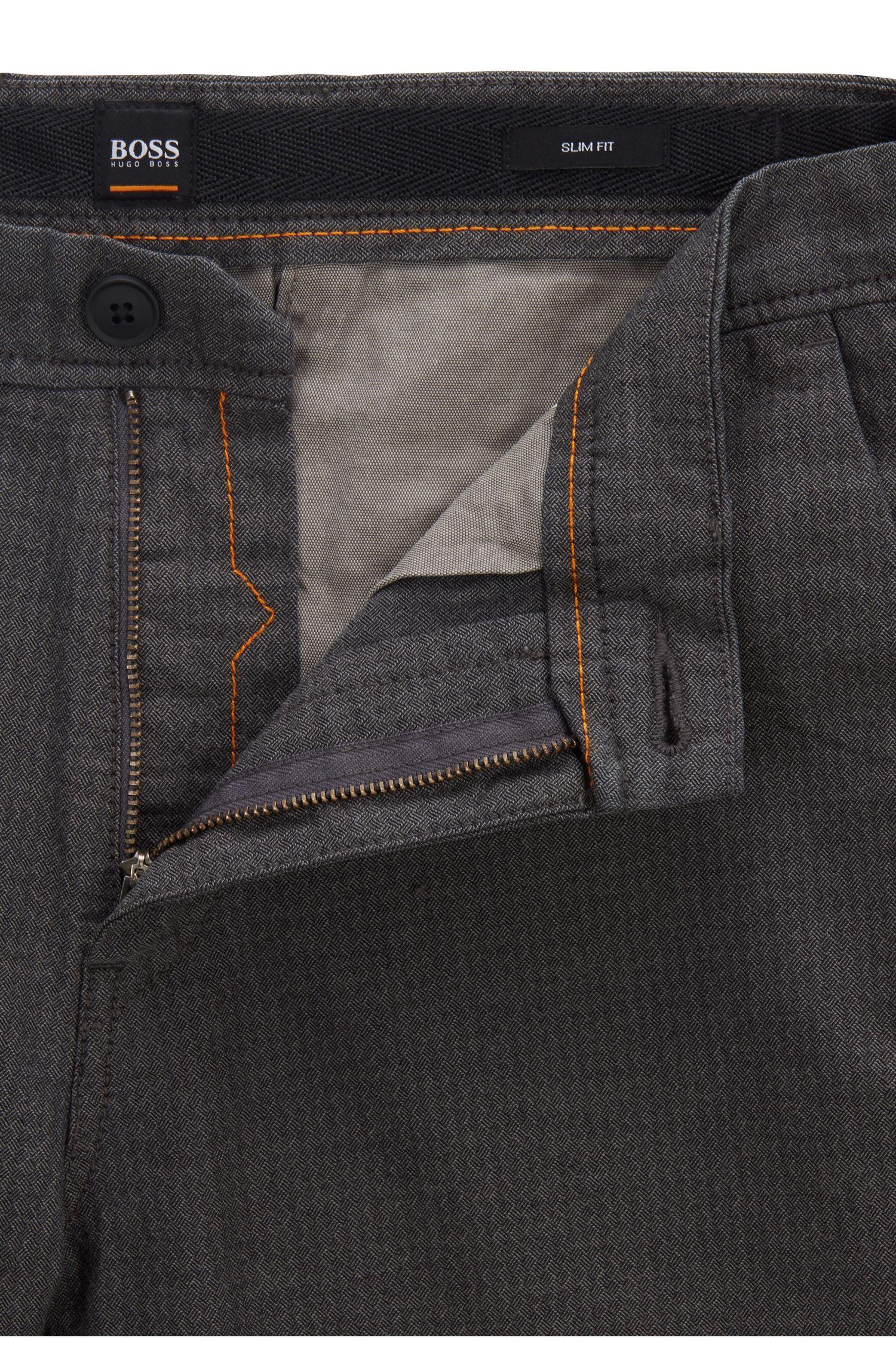 Pantaloni slim fit in cotone elasticizzato strutturato, Grigio chiaro