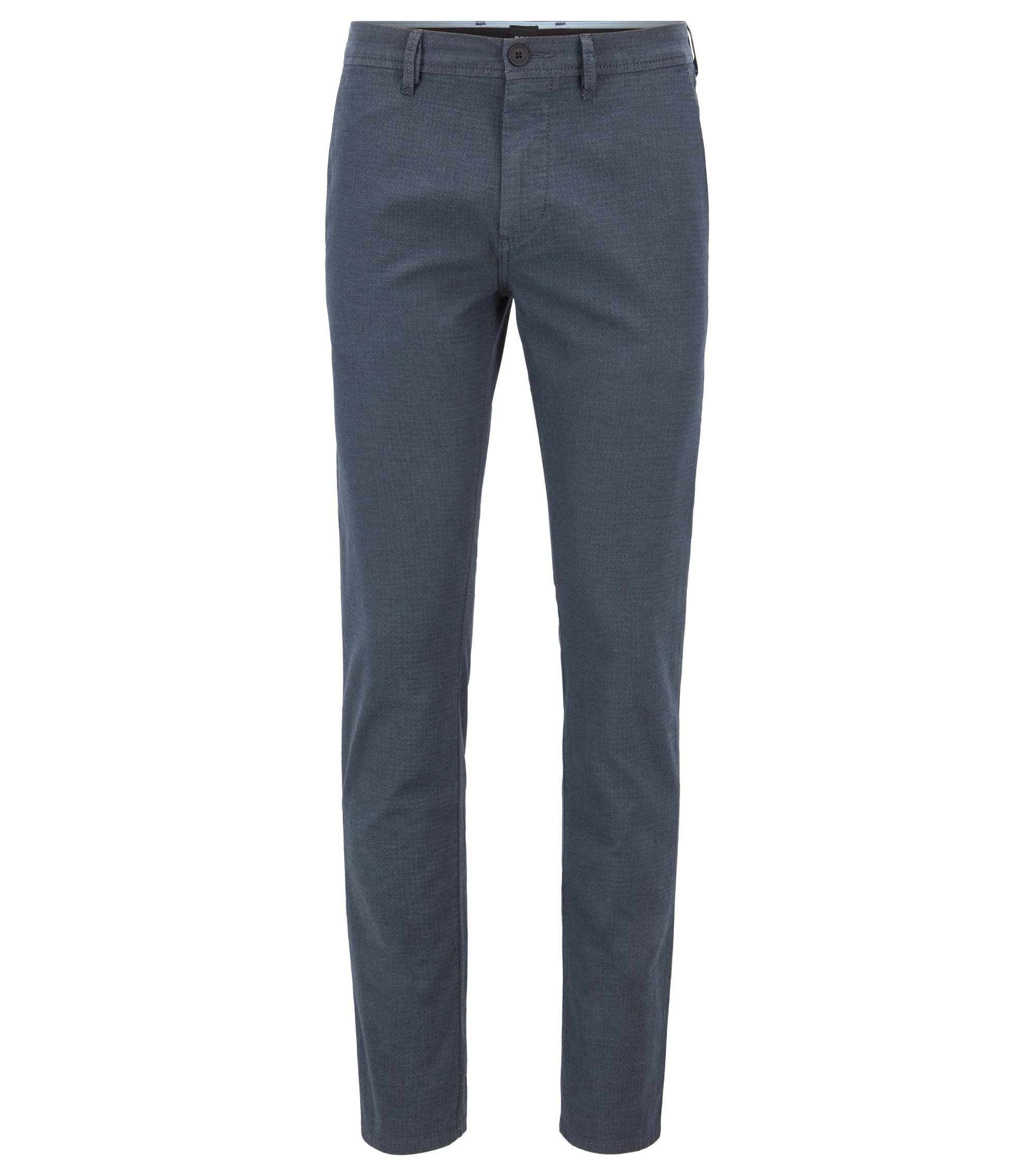 Slim-fit broek van gestructureerde stretchkatoen, Lichtblauw
