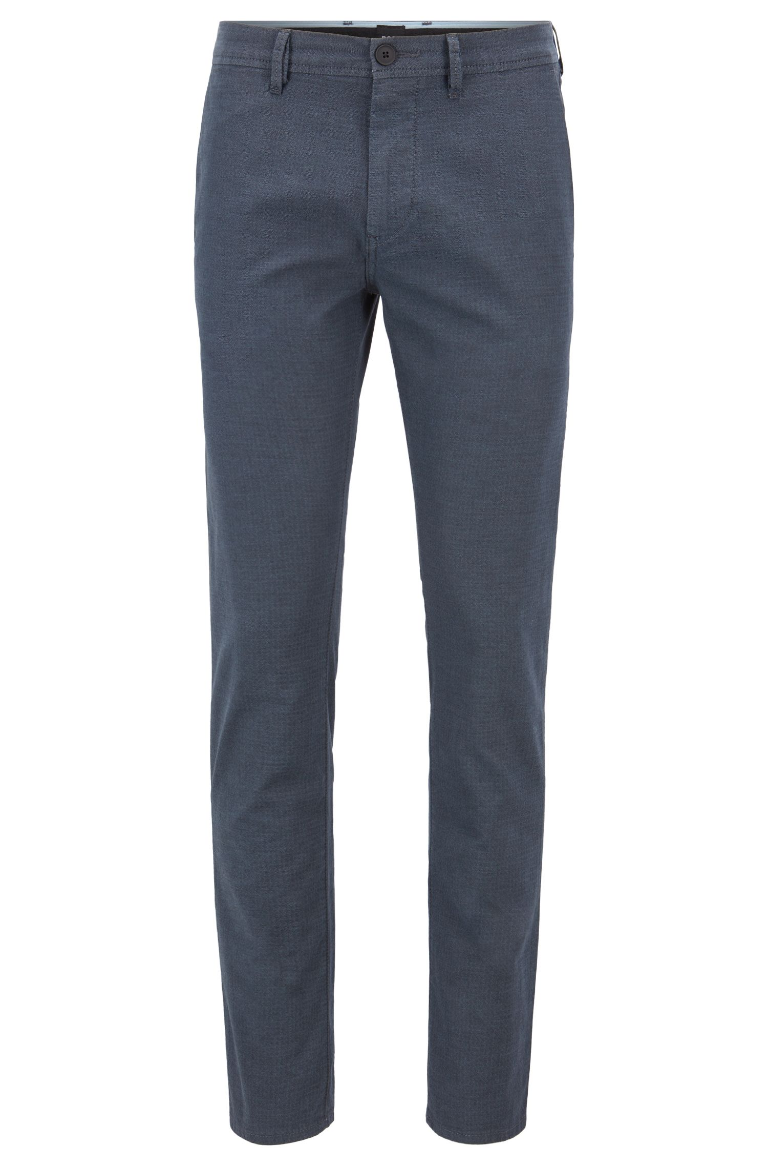 Slim-fit trousers in structured stretch cotton, Light Blue