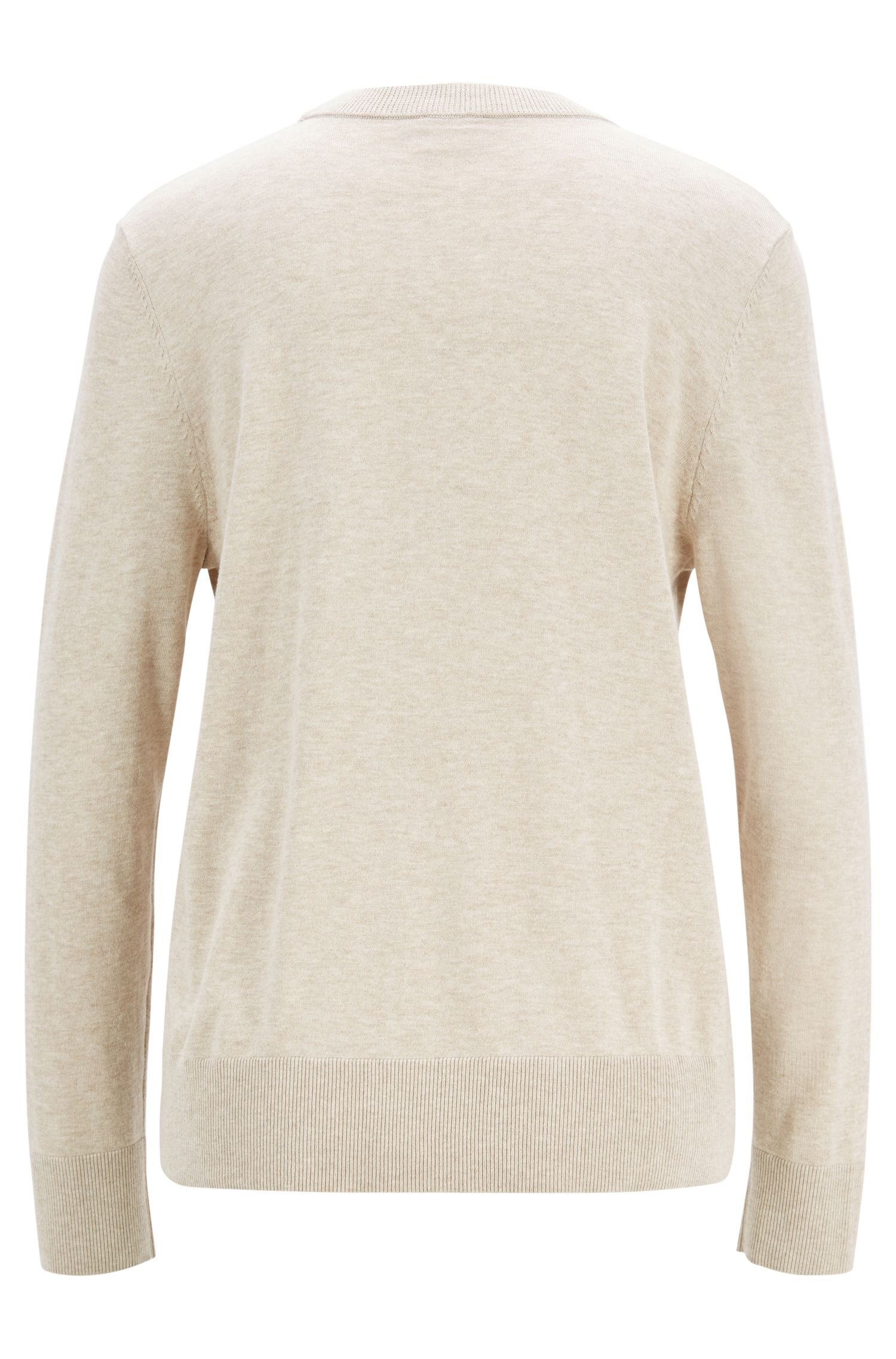 Lightweight sweater in cotton with silk and cashmere, Beige