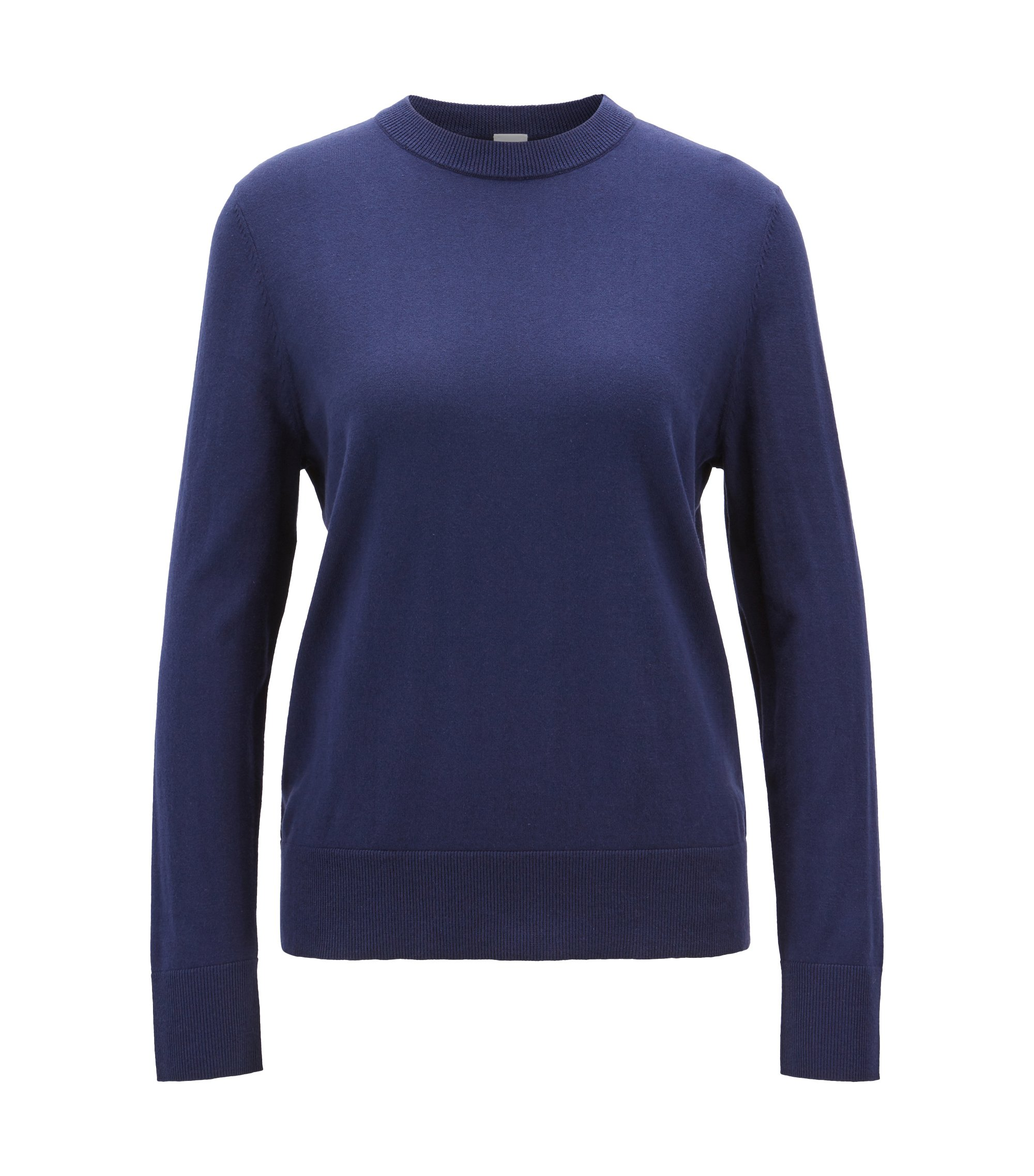 Lichte trui van katoen met zijde en kasjmier, Donkerblauw