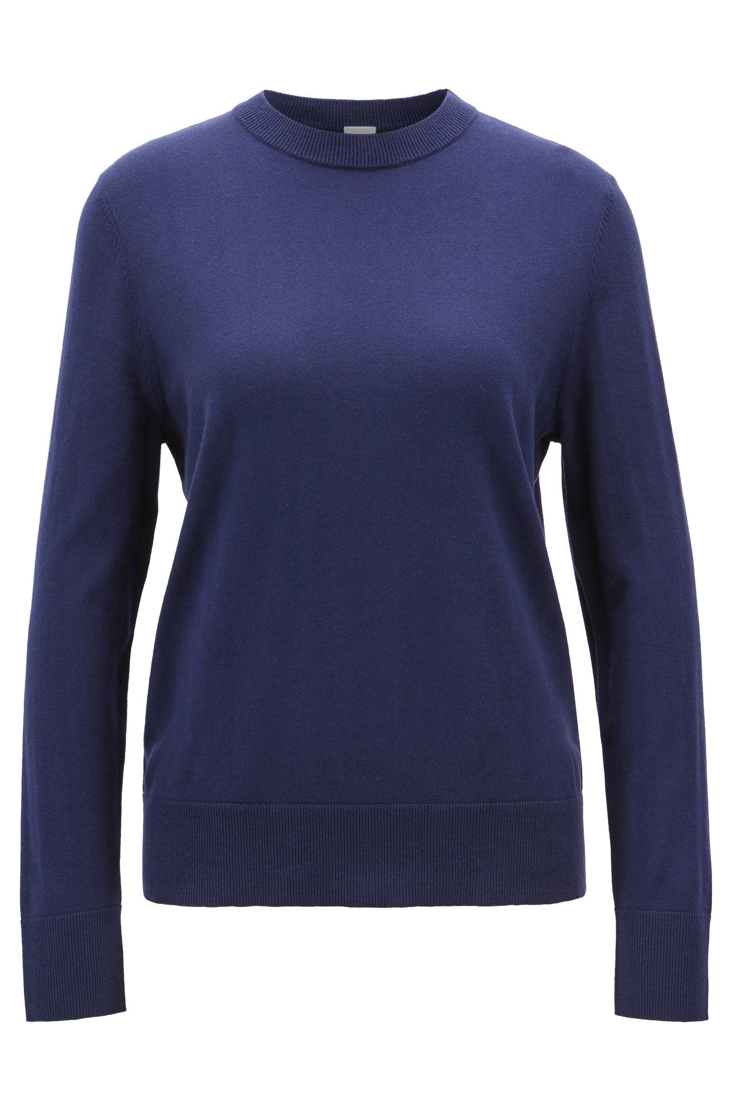 Maglione leggero in misto cotone con seta e cashmere, Blu scuro
