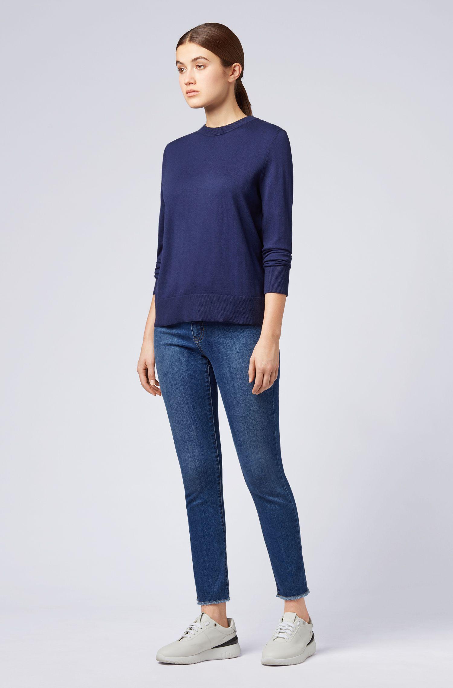 Jersey ligero de algodón con seda y cashmere, Azul oscuro
