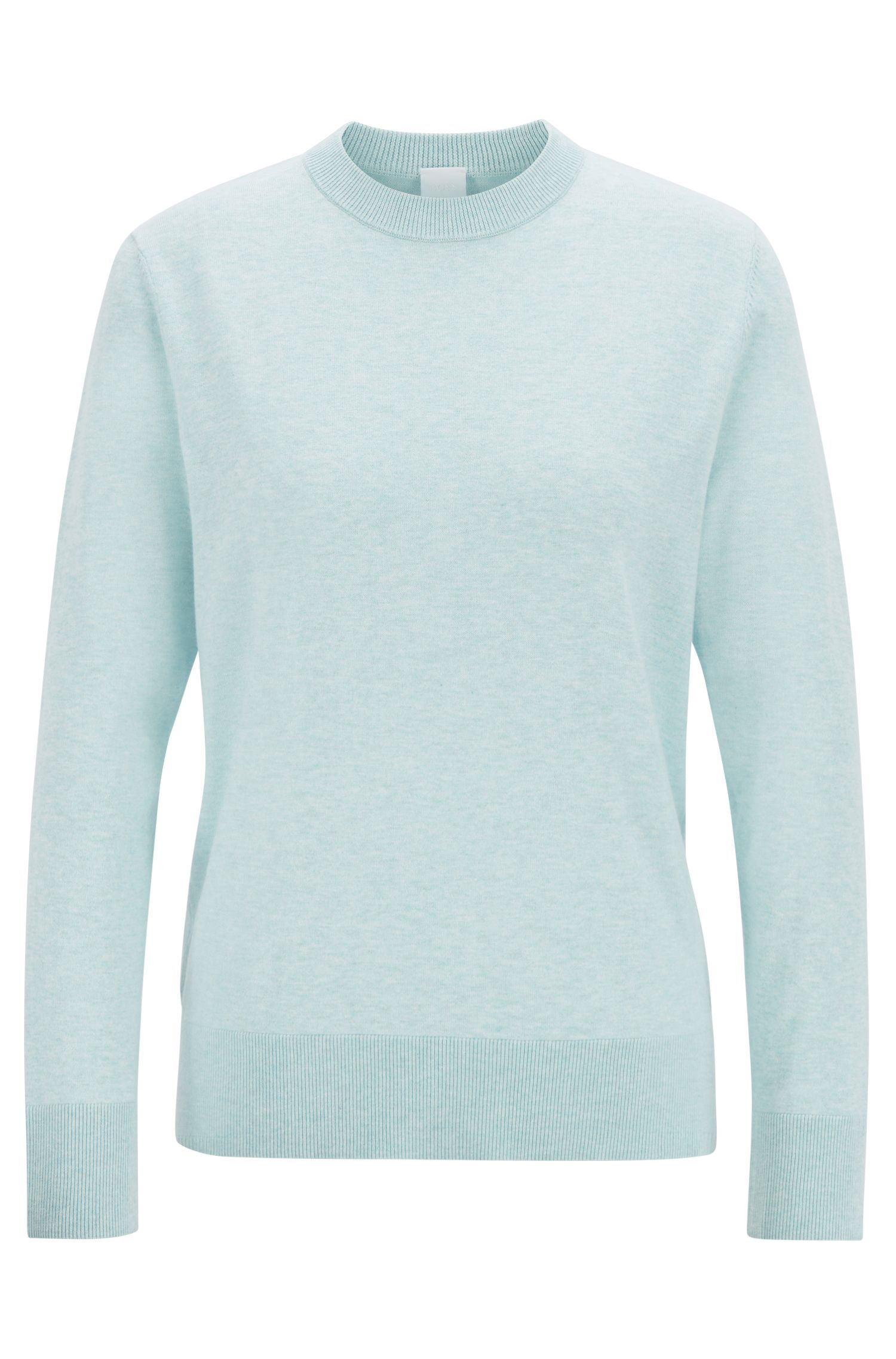 Lightweight sweater in cotton with silk and cashmere, Blue