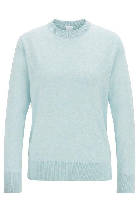 Lichte trui van katoen met zijde en kasjmier, Blauw