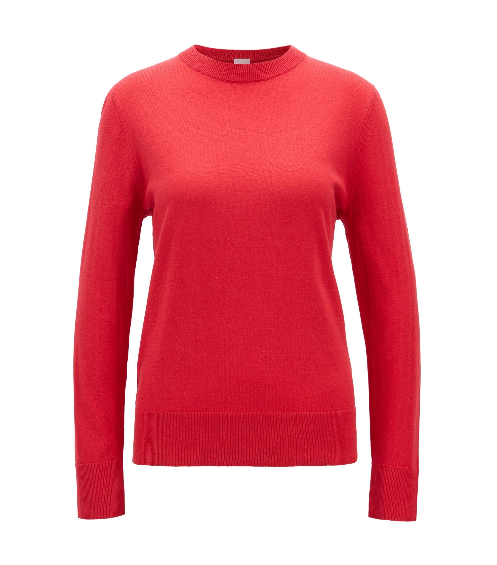 Lichte trui van katoen met zijde en kasjmier, Rood
