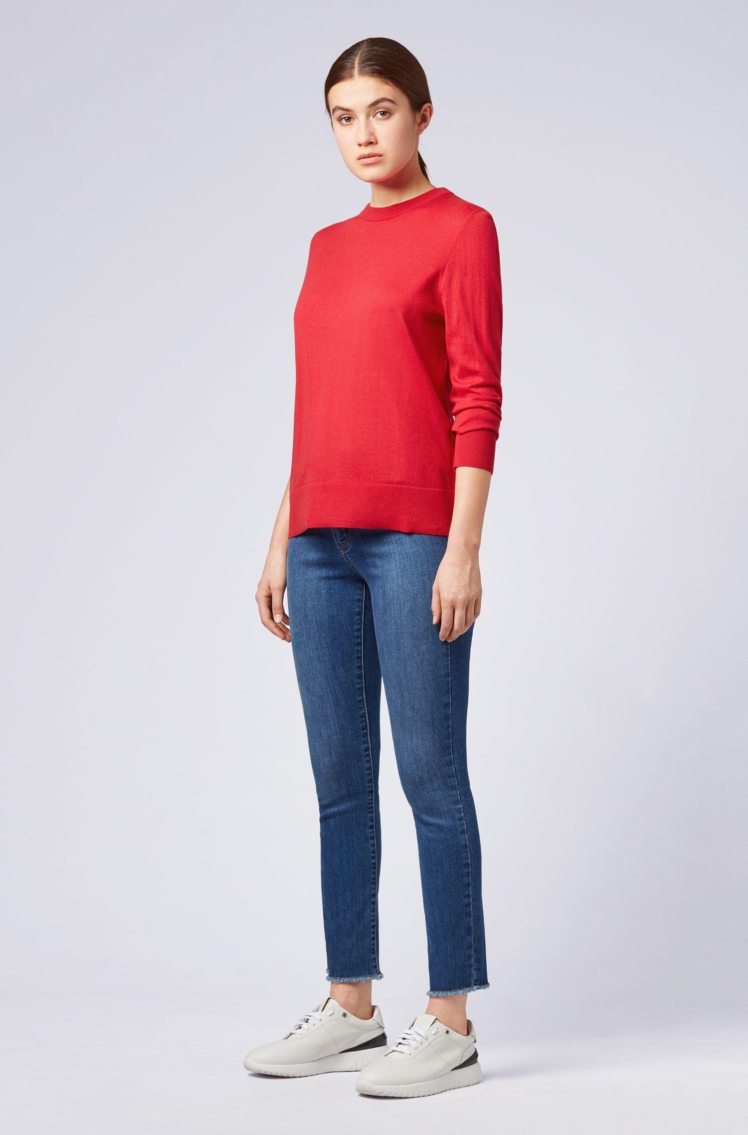 Lightweight sweater in cotton with silk and cashmere, Red