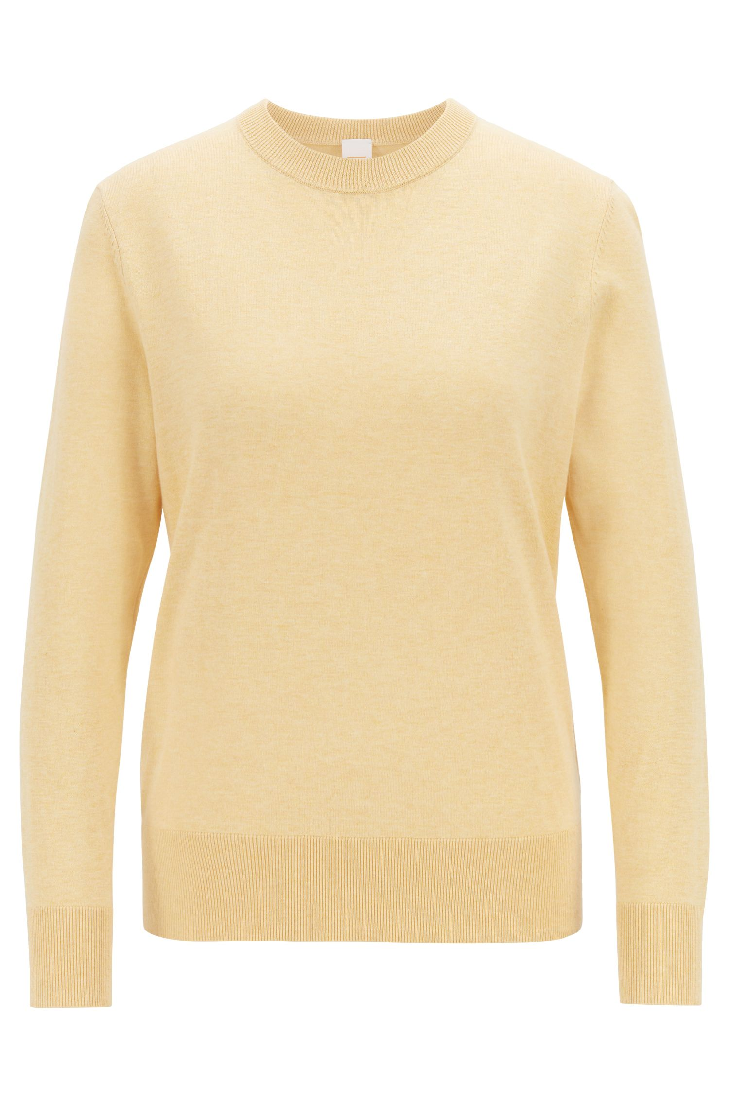 Lightweight sweater in cotton with silk and cashmere, Light Yellow