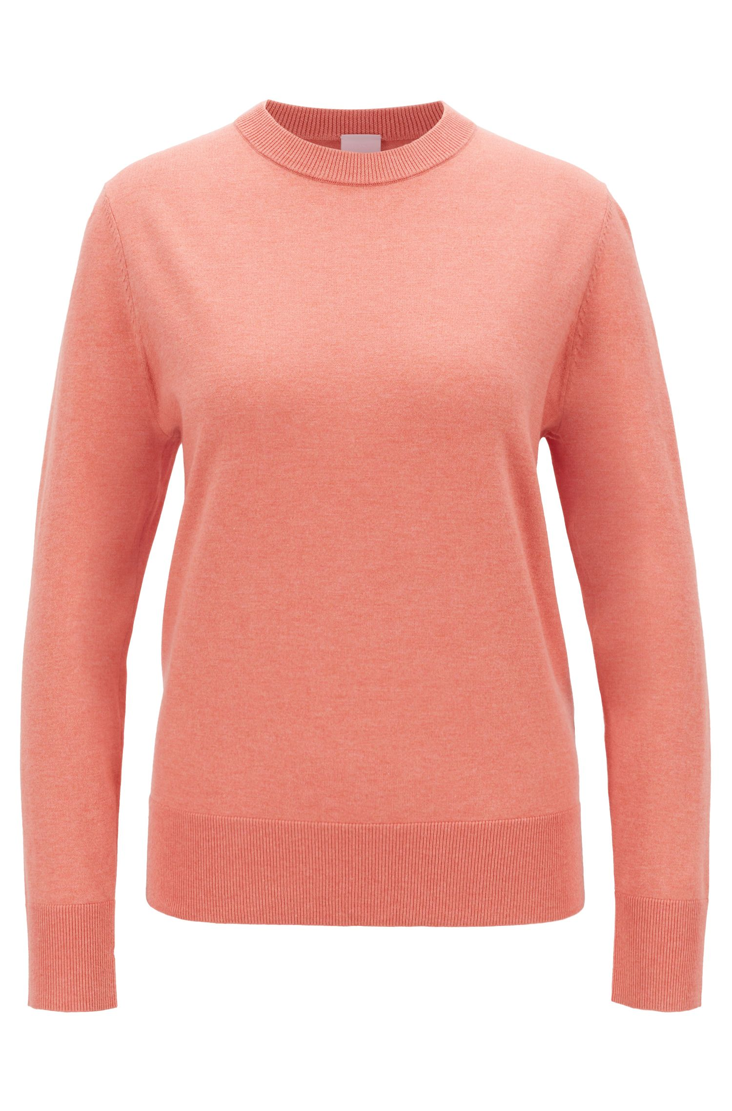 Lightweight sweater in cotton with silk and cashmere, Light Orange