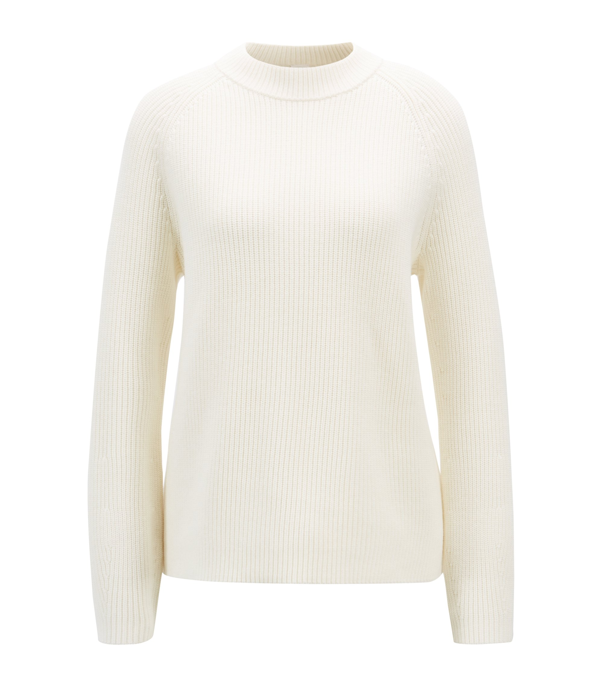 Relaxed-fit knitted sweater in virgin wool and cotton, Natural