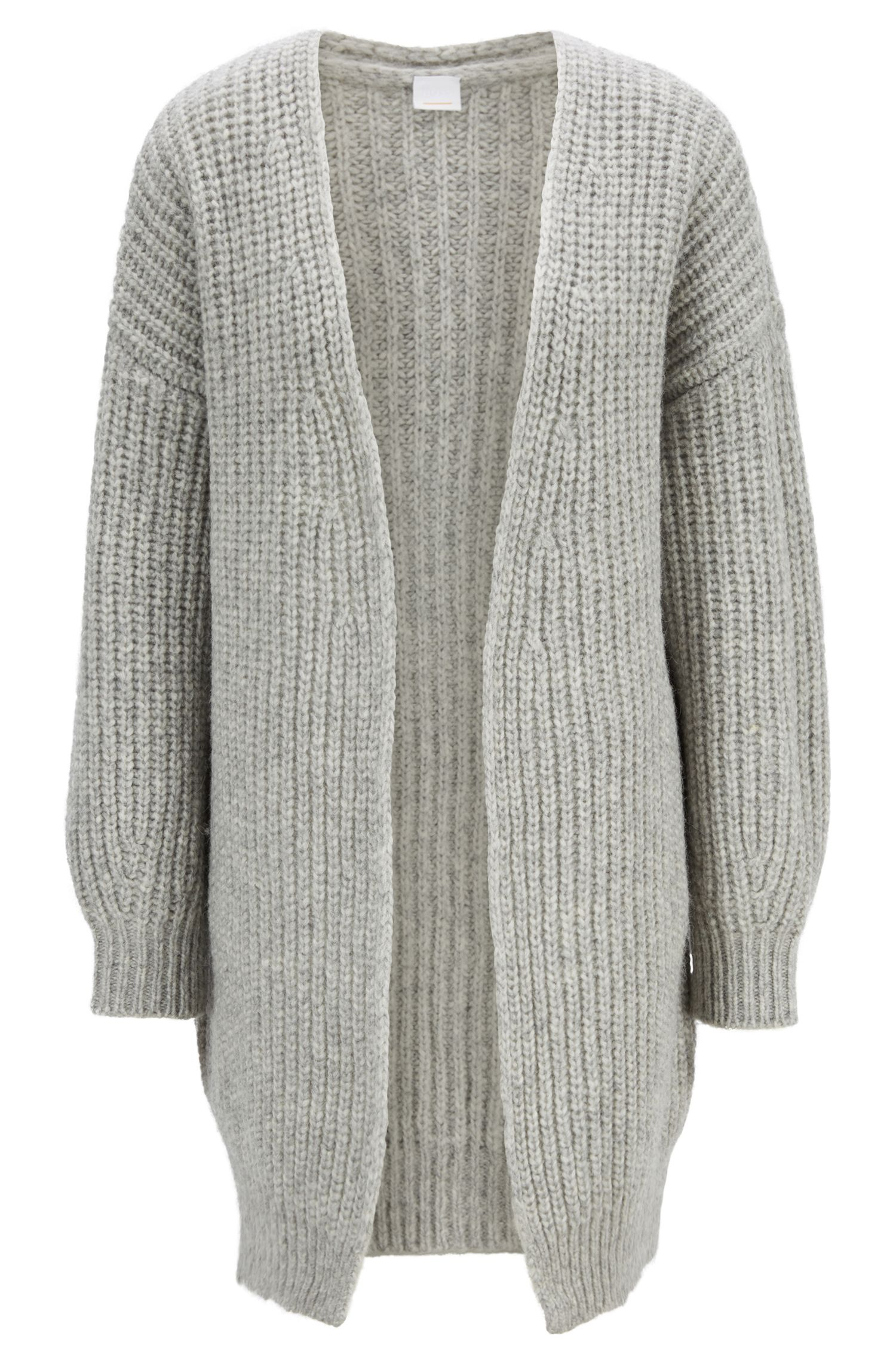 Oversized-fit cardigan in a wool blend, Silver