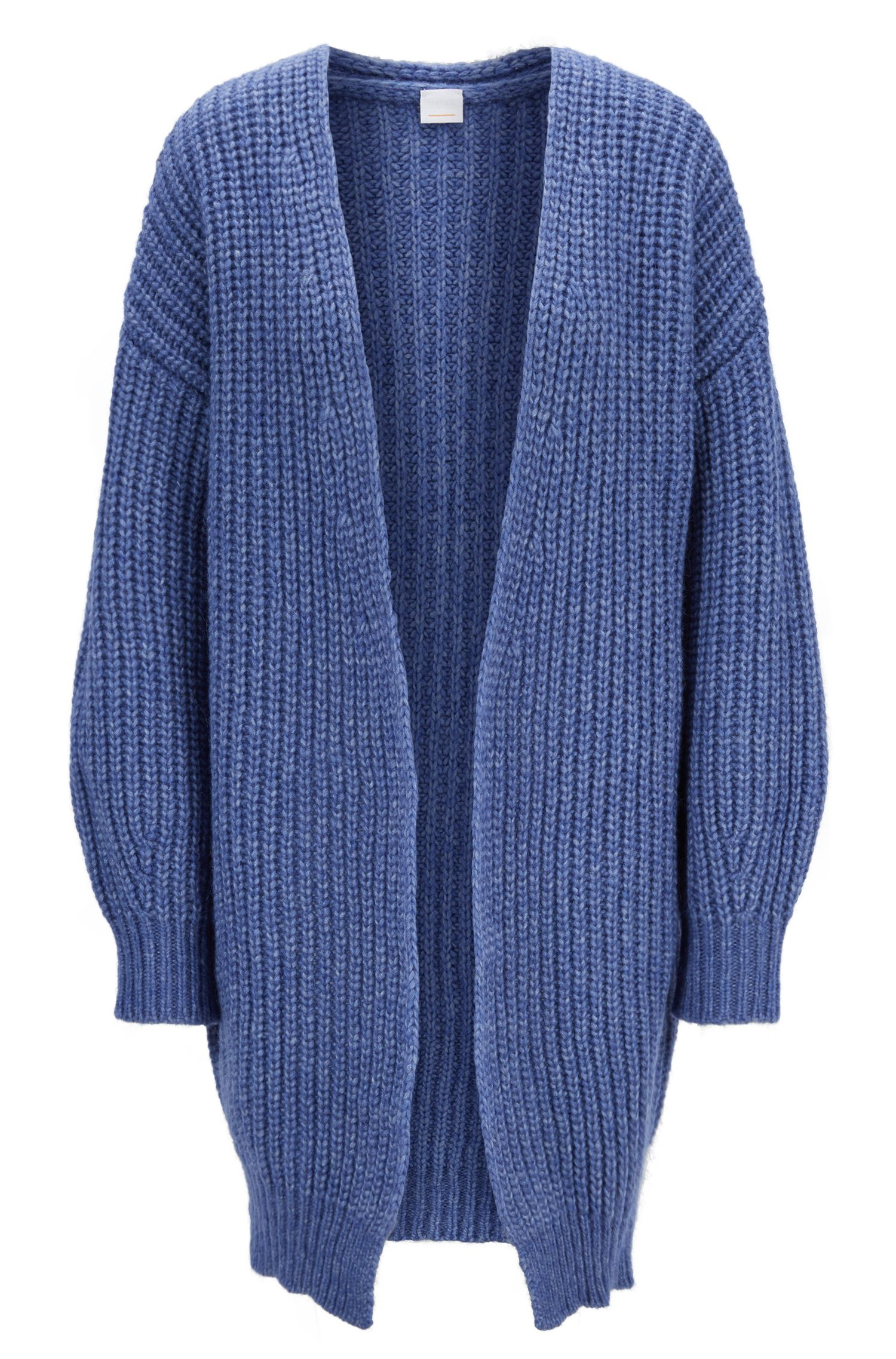 Oversized Strickjacke aus Woll-Mix, Blau