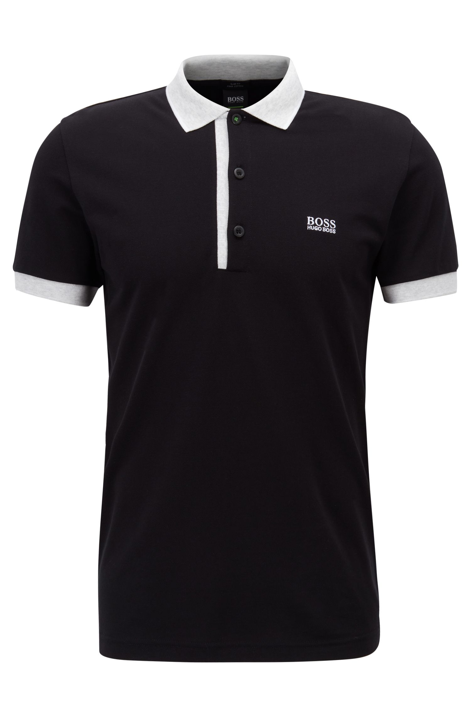 Polo Slim Fit en piqué Oxford de coton Pima, Noir