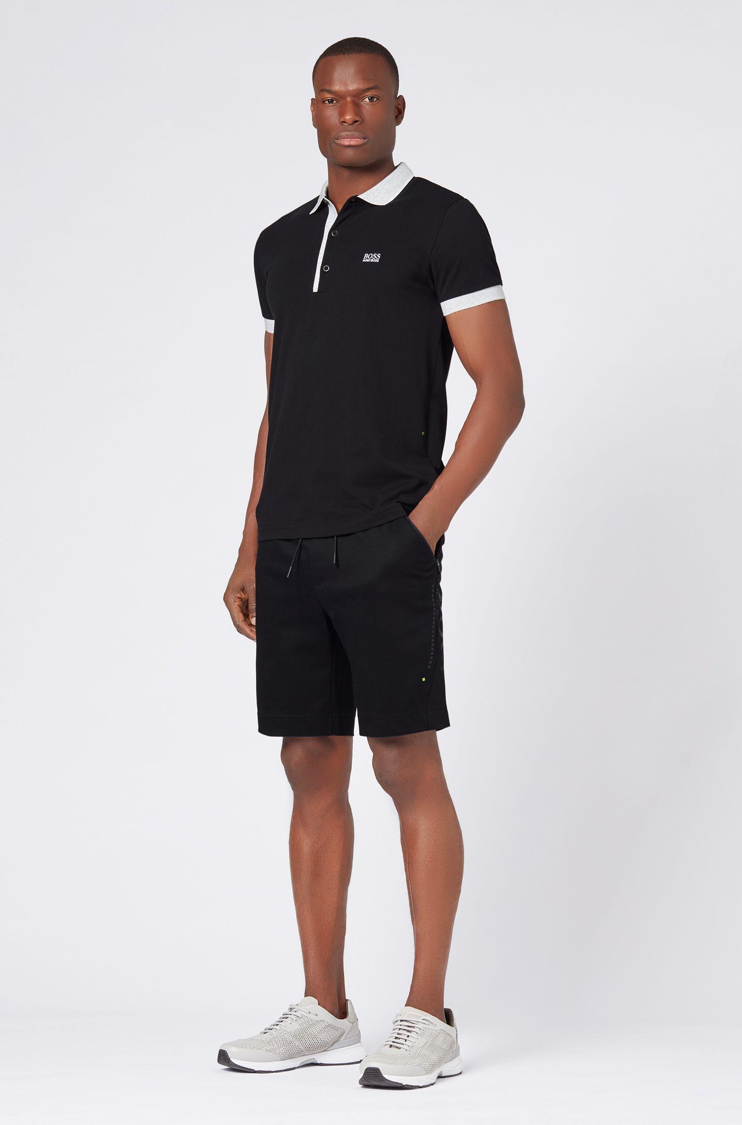 Piqué-Poloshirt aus Pima-Baumwolle, Schwarz