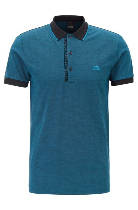 Slim-fit polo shirt in Pima-cotton Oxford piqué, Blue