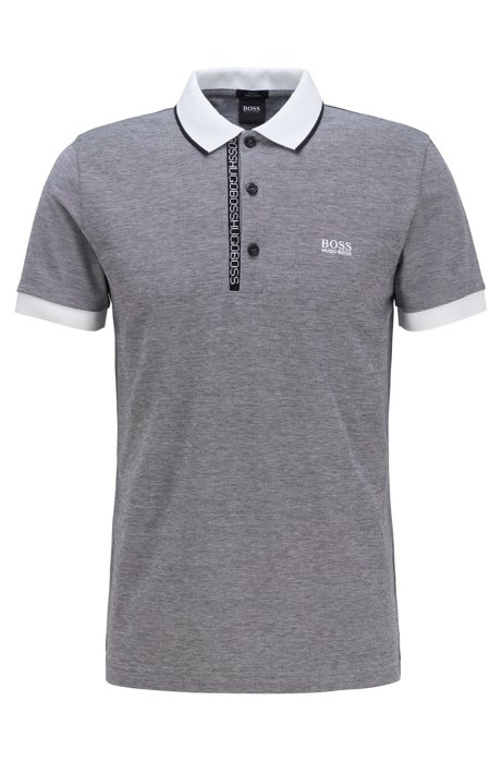 Slim-fit polo shirt in Pima-cotton Oxford piqué, Grey