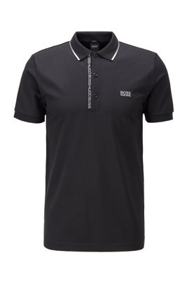 Slim-fit polo shirt in Pima-cotton Oxford piqué, Black