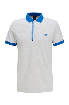 Slim-fit polo shirt in Pima-cotton Oxford piqué, Light Grey