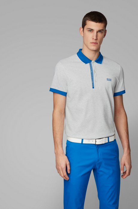 Slim-fit polo shirt in Pima-cotton Oxford piqué, Light Grey
