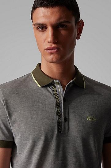 男士牛津珠地布修身型 Polo 衫,  303_暗绿色