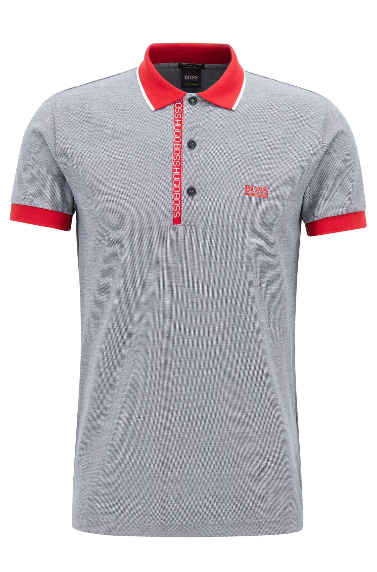 Polo Slim Fit en piqué Oxford de coton Pima, Bleu
