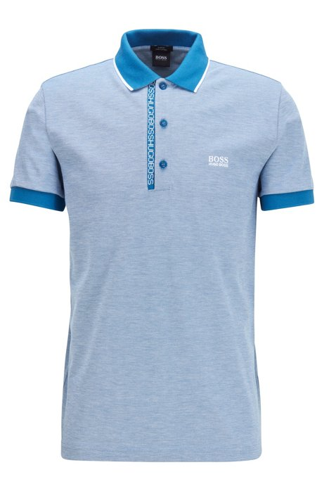 Polo slim fit en piqué Oxford de algodón Pima, Azul