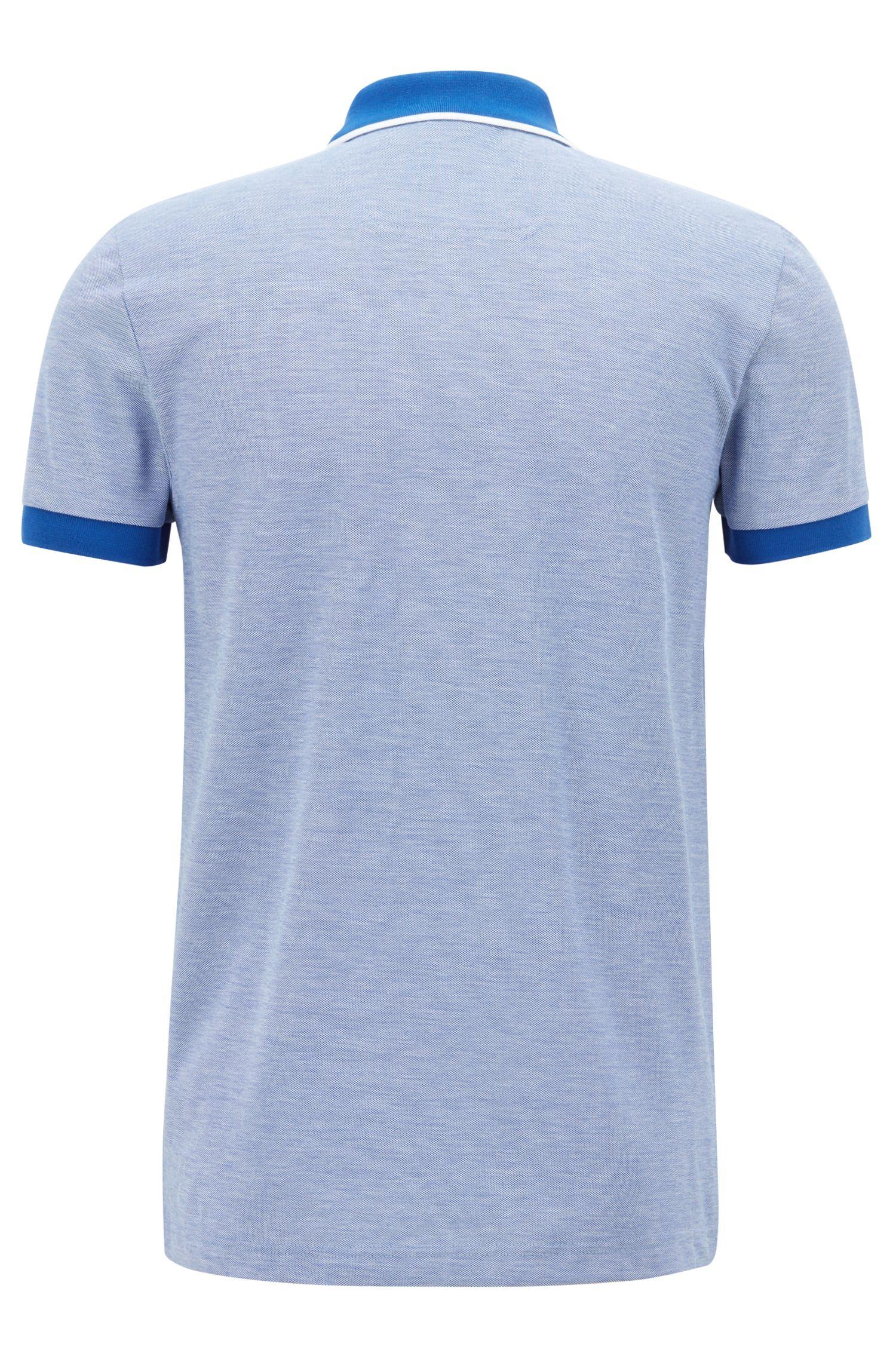 Polo slim fit in piqué di cotone Pima con lavorazione oxford, Blu