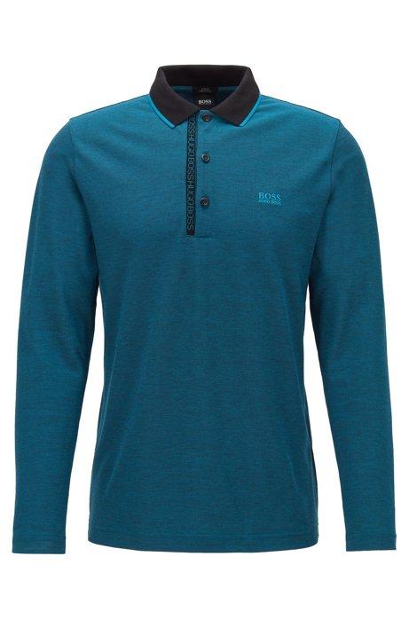 Longsleeve-Poloshirt aus Baumwolle mit Logo-Tape an der Blende, Blau