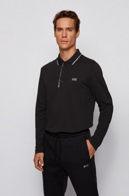 Slim-fit polo shirt with logo-tape underplacket, Black