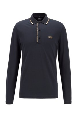Slim-fit polo shirt with logo-tape underplacket, Dark Blue