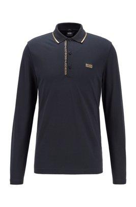 Polo Slim Fit avec ruban logo sous la patte de boutonnage, Bleu foncé