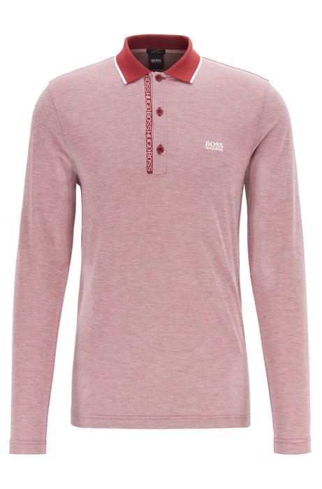 Polo Slim Fit avec ruban logo sous la patte de boutonnage, Rouge