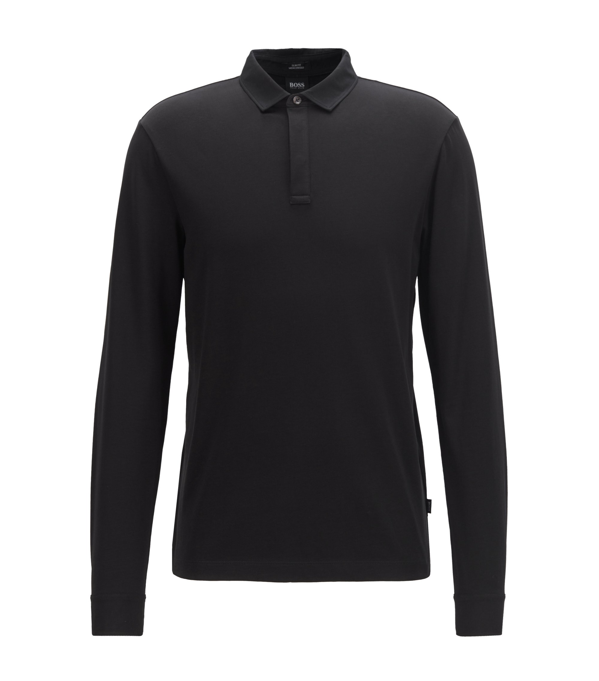 Polo Slim Fit en coton mercerisé avec poignets boutonnés, Noir