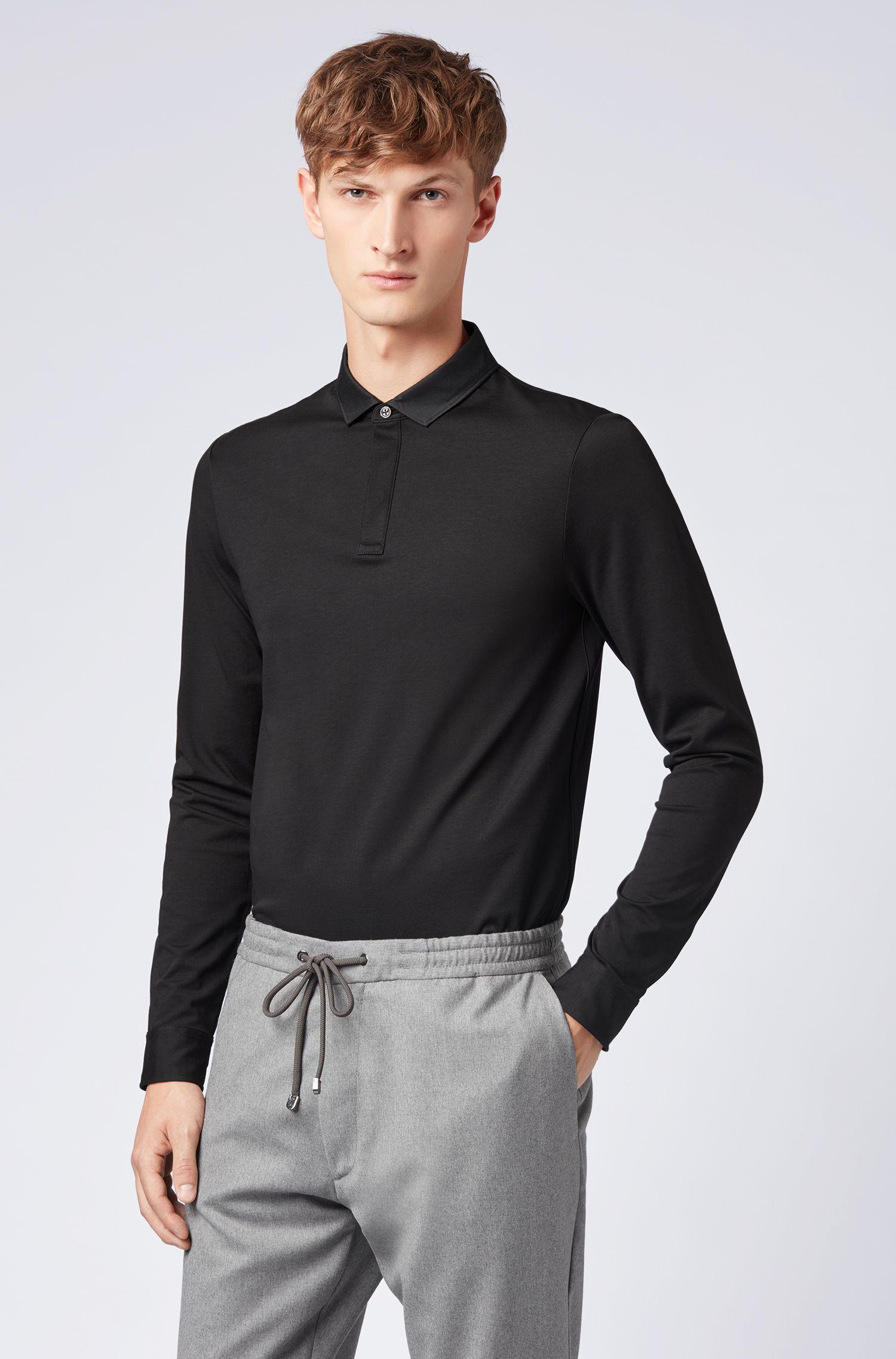 Poloshirt aus merzerisierter Baumwolle mit Knöpfen an den Bündchen, Schwarz