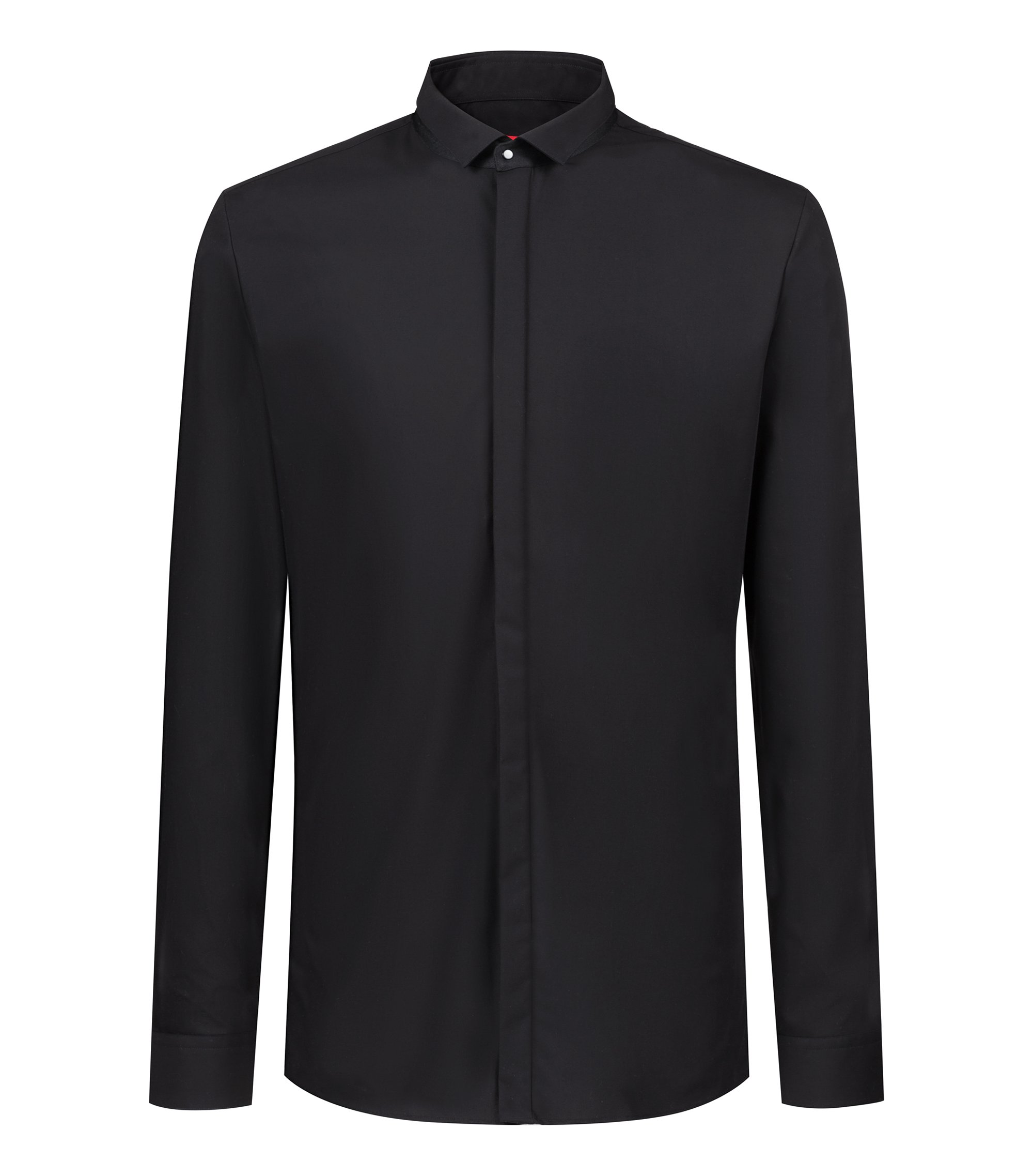 Extra-slim-fit shirt in cotton with contrast collar stand, Black