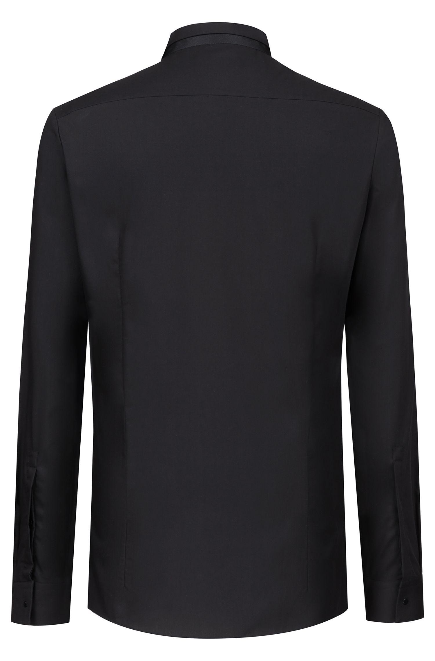 Camisa extra slim fit de algodón con cuello de pajarita en contraste, Negro