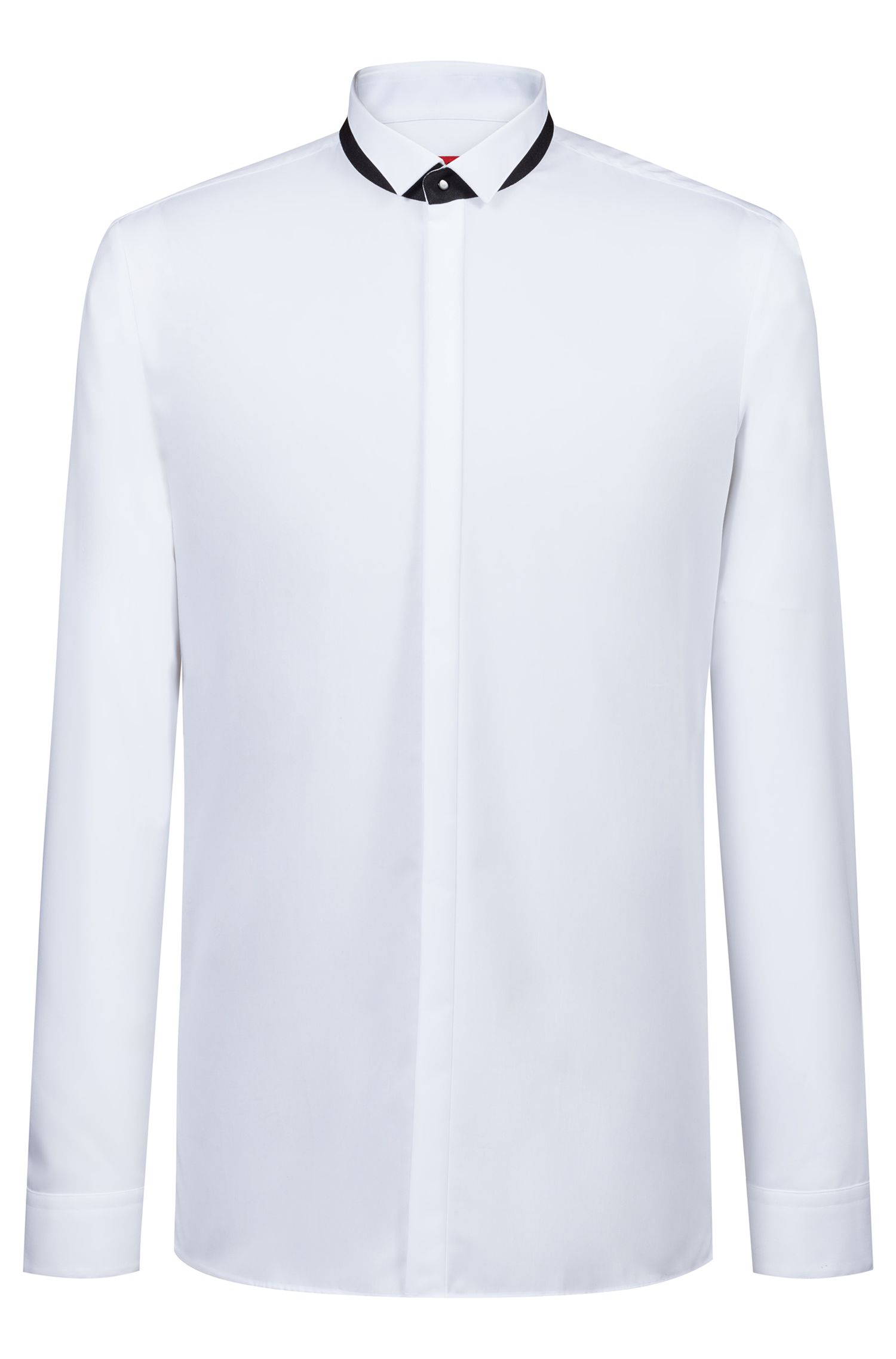 Extra-slim-fit shirt in cotton with contrast collar stand, White