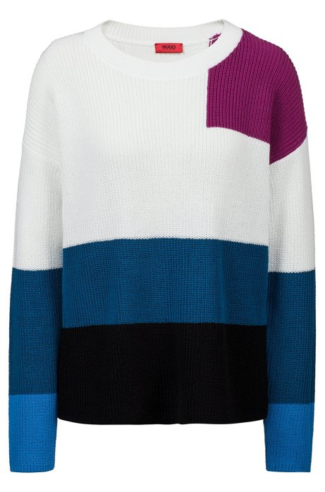 Oversized-fit sweater in knitted colour-block cotton, Patterned